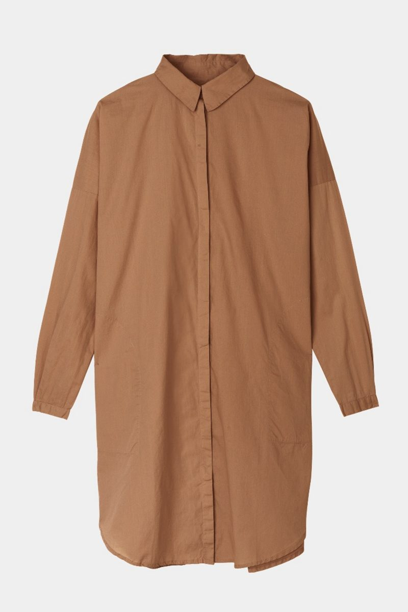 SHIRT DRESS TOBACCO