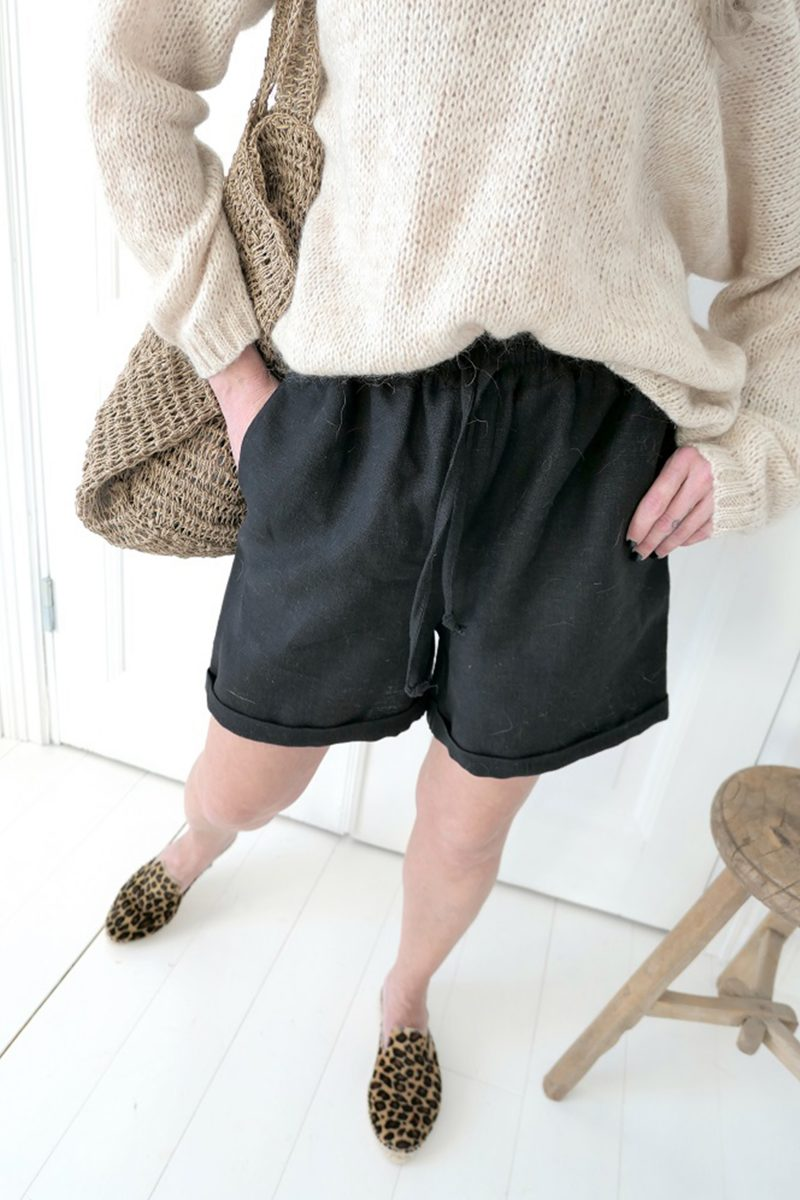 CASUAL LINEN SHORTS BLACK