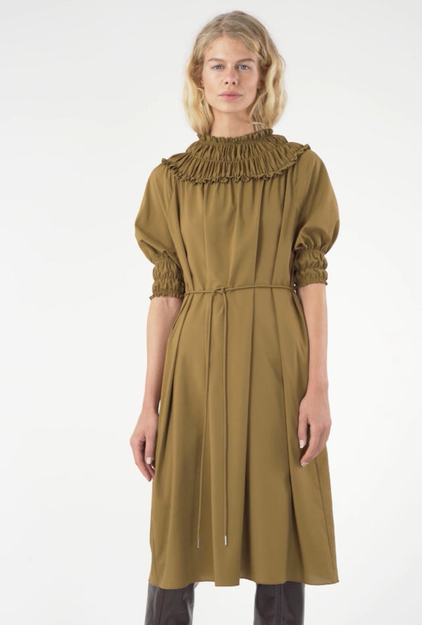 GATHERED NECKLINE DRESS