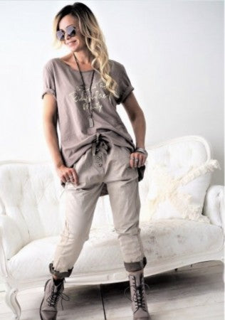 BUTTONS JOGGER TAUPE
