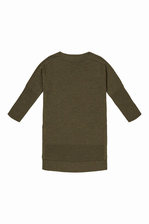 WIDE CREWNECK W/SPLITS DARK OLIVE