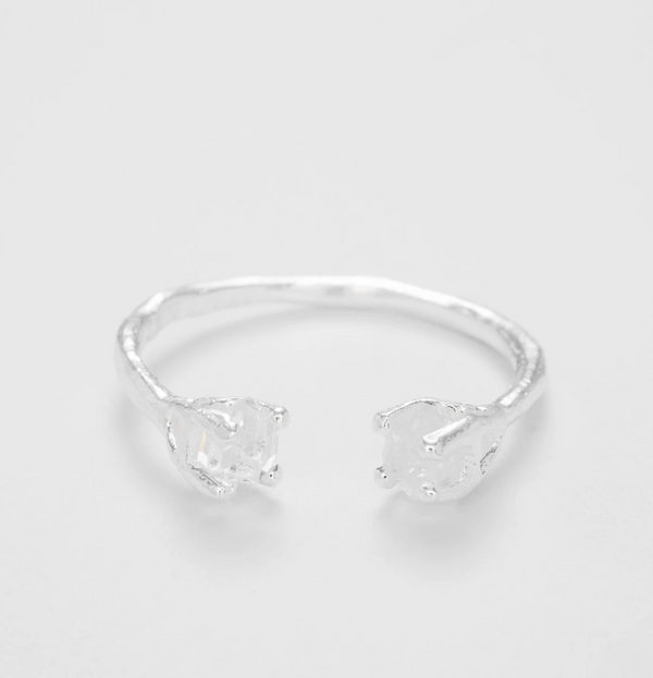 THE HERKIMER CLAW RING SILVER