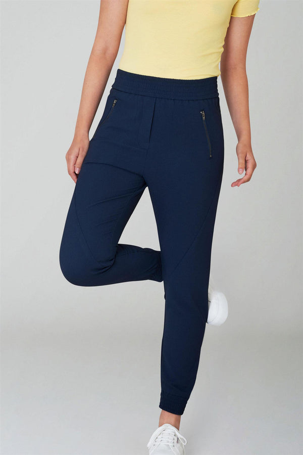 MILEY ZIP NAVY CREPE PANTS