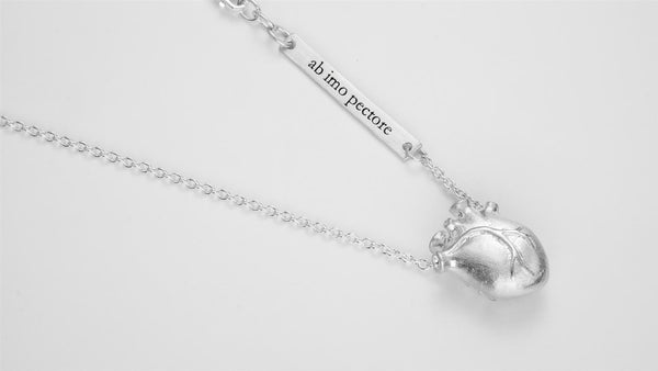 MEDIUM SILVER ANATOMIC HEART NECKLACE