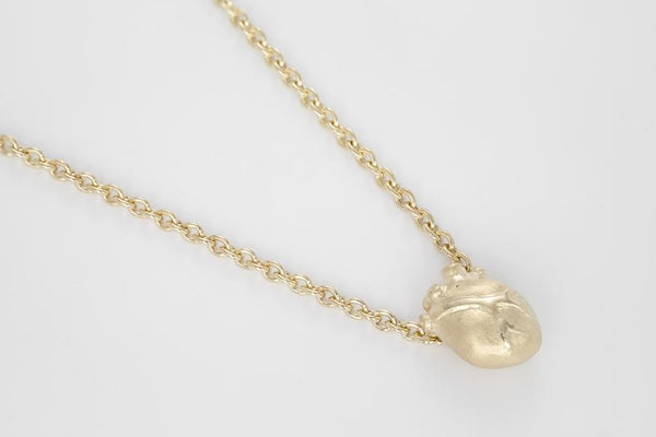 SMALL GOLD ANATOMIC HEART NECKLACE 7218