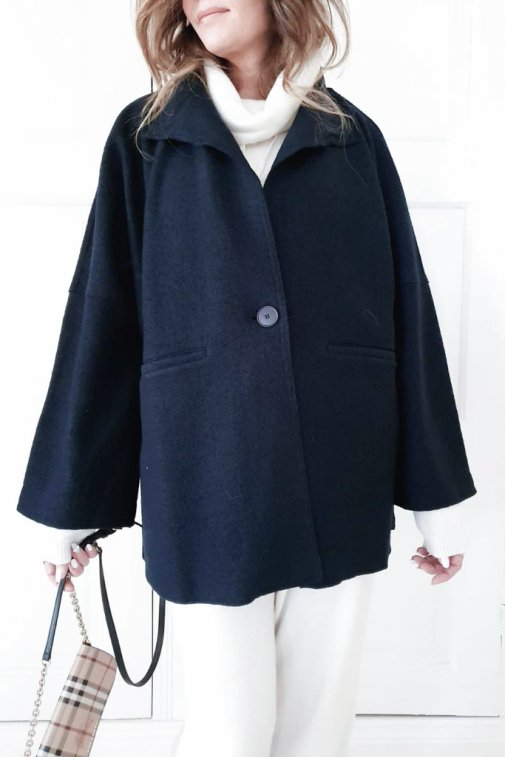 TRENCHY WOOL JACKET NAVY