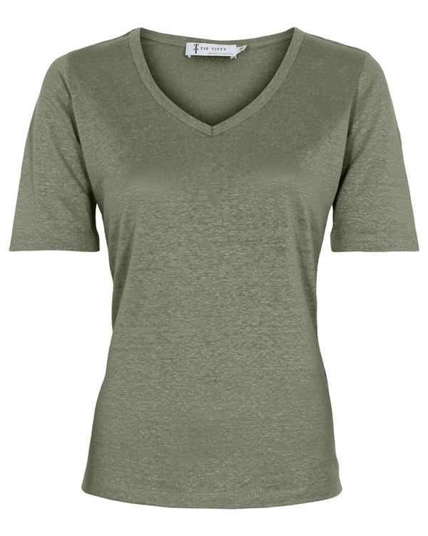 LINEN T-SHIRT OILGREEN