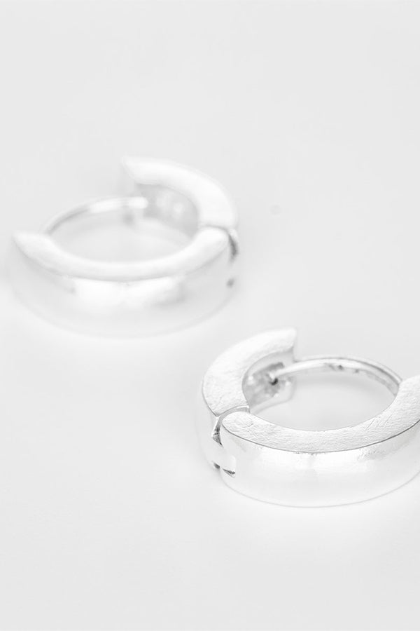 TINY CHUNKY HOOPS 925 SILVER EARRINGS