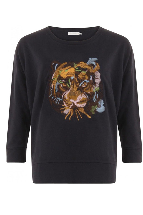 SWEAT O-NECK W. TIGER EMBROIDERY