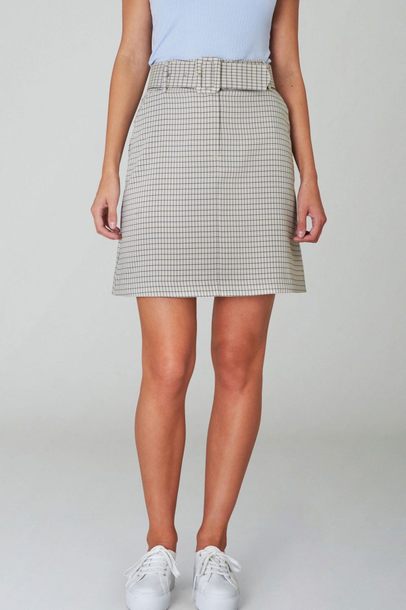KALA BELTED SPRING CHECK SKIRT