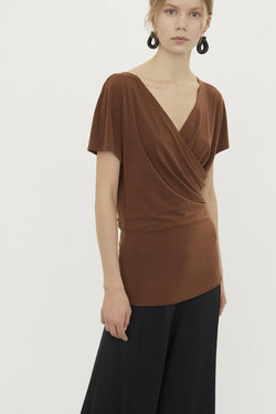 CREPE TOP BROWN