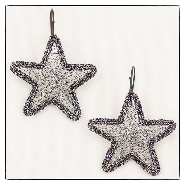 Metallic Astra Large Star Shape Earrings 4.5cm