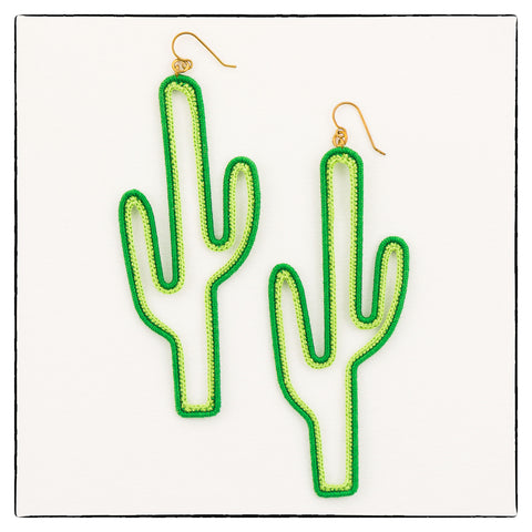 Cactus Oversize Statement Earrings 11cm