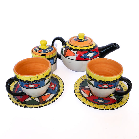 8-piece Ceramic Tea Set (Geometric)