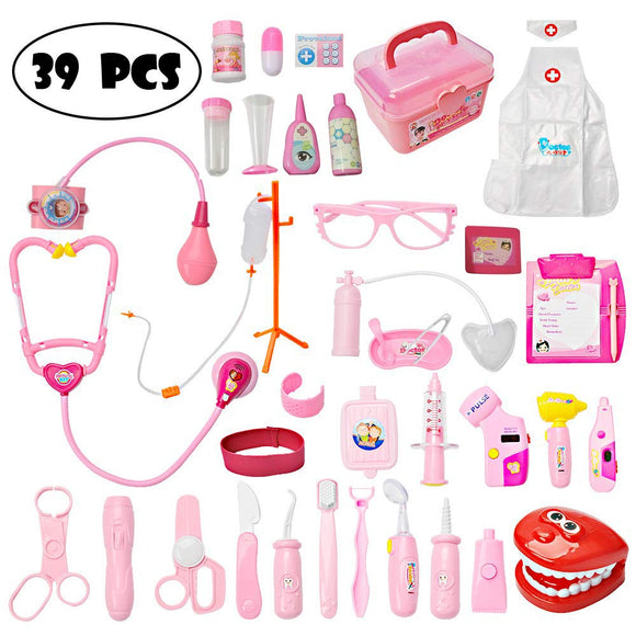 Mysterystone Toddler Doctor Kit with 34Pcs Pretend Play Toys Dentist Medical Equipment Including Electronic Stethoscope & Dress Up Nurse Suit, Pink