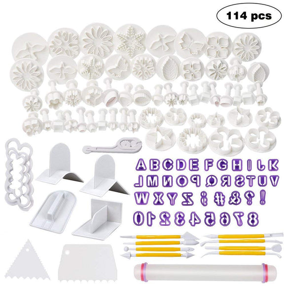 Fondant Molds, 114 Cutters and Fondant Decorating Tools Set,Cake Sugarcraft Fondant Tools kit with Rolling Pin,Smoother Embosser Moulds