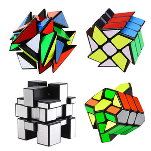 Mysterystone 4-Pack YJ Cube Set - Included 3x3 YJ Fluctuation Angle Puzzle Cube - 2x3 YJ Wheel Puzzle Cube - 3x3 YJ Mirror Puzzle Cube 6 Color - 3x3 YJ Square King Puzzle Cube