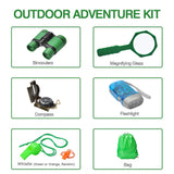 Outdoor Exploration Kit– 21pcs Nature Explorer Kids Adventurer Kit for Children- Binoculars, Compass, Magnifying Glass, Insect Viewer, Butterfly Net, Bug Toys, Outside Educational Toys Hiking Camping