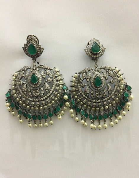 Victorian Emerald Chand Bali Earrings