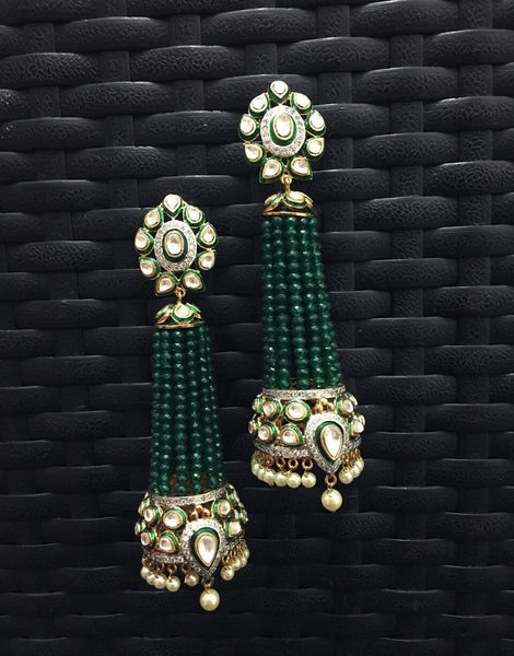 Long Green Fusion Earrings