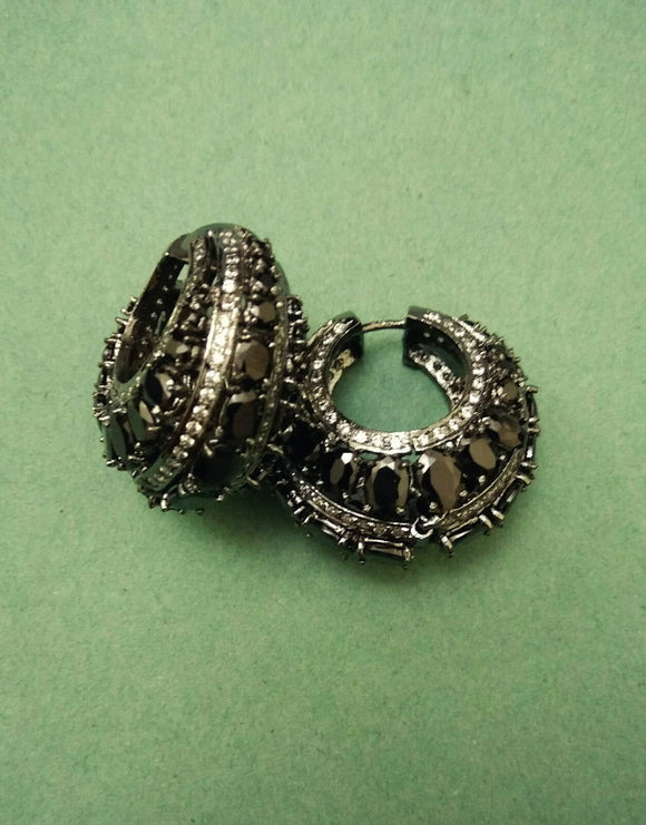 Black stones American Diamond Earrings - Ziva Art Jewellery