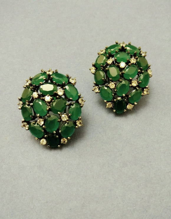 Emerald Stud Earrings - Ziva Art Jewellery