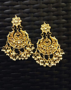 Gold Pearl Chand bali Earrings - Ziva Art Jewellery
