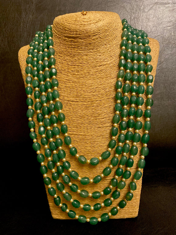 Panchlada Emerald rani haar necklace - Ziva Art Jewellery
