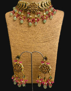 Kundan Chokar with Aqua Quartz drops - Ziva Art Jewellery