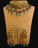 Kundan Chokar with Emerald Quartz drops - Ziva Art Jewellery