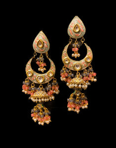 Grey and Pink Meenakari Chandbali Jhumka Earrings - Ziva Art Jewellery