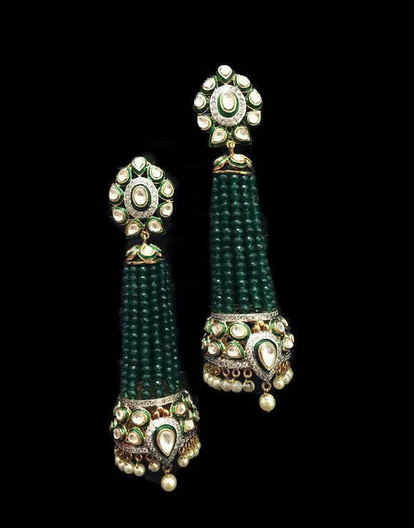 Long Green Fusion Earrings - Ziva Art Jewellery