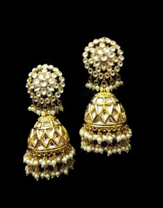 Gold Kundan Jhumka Earrings - Ziva Art Jewellery