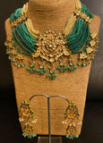 Turquoise Pearl Kundan Necklace Set - Ziva Art Jewellery