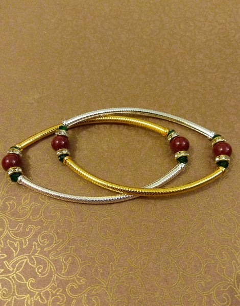 Gold Silver Maroon bead Anklet