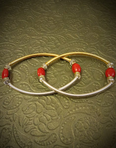 Gold Silver Red bead Anklet - Ziva Art Jewellery