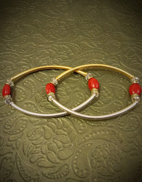 Gold Silver Red bead Anklet