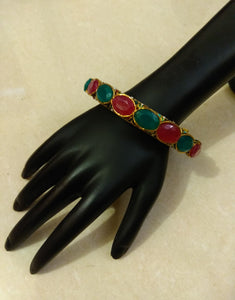 Green Red Stone Pacheli Bangle - Ziva Art Jewellery
