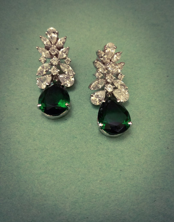 American Diamond with Emerald Stone Earrings - Ziva Art Jewellery