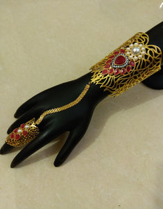 Red Stones with Pearls Haath Phool - Ziva Art Jewellery