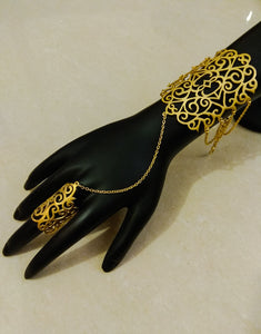 Gold Cut-work Haath Phool - Ziva Art Jewellery