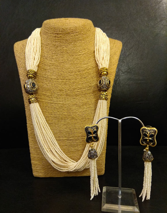 Pearl String with Antique Stones and Earrings Set - Ziva Art Jewellery