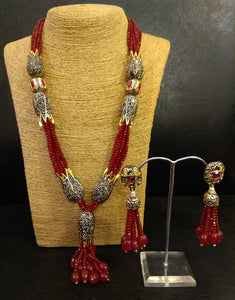 Red Crystal String with Antique Stones and Earrings Set - Ziva Art Jewellery
