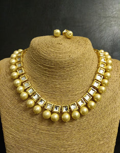 Kundan line with Golden Oynx Beads Necklace with Earrings Set - Ziva Art Jewellery