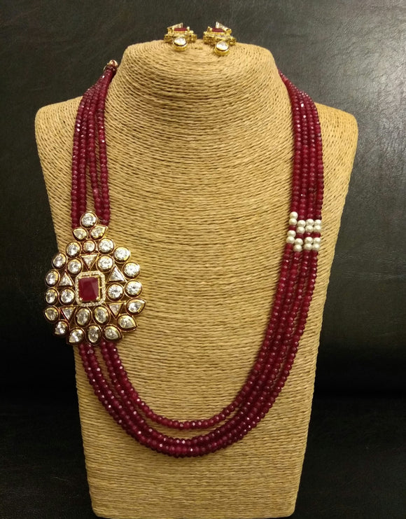 Kundan Side Brooch and Red bead strings Necklace with Earrings Set - Ziva Art Jewellery