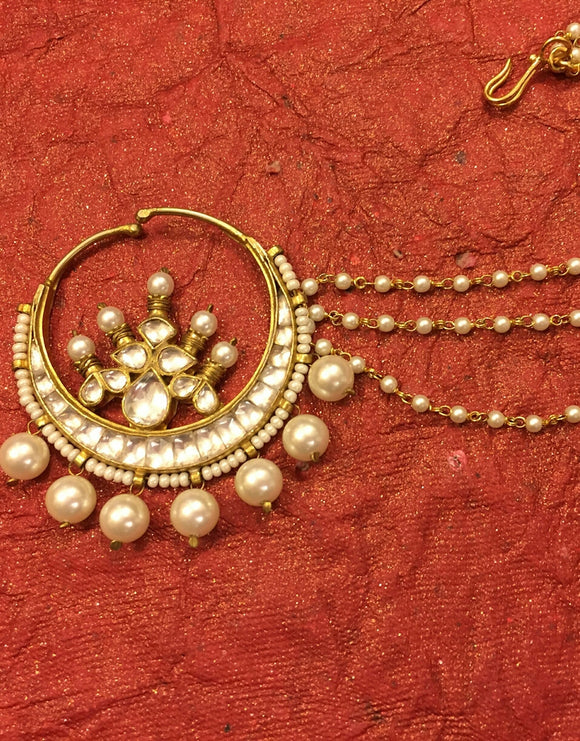 Pachi Kundan with Pearls Nose Ring - Ziva Art Jewellery
