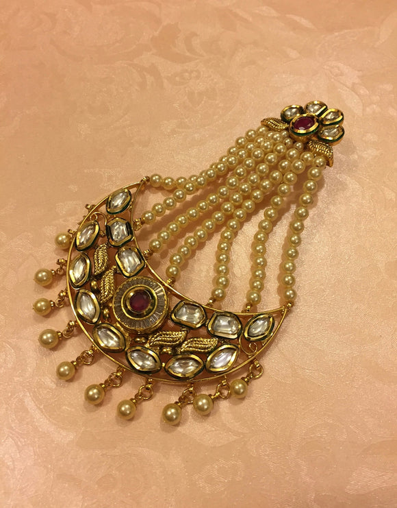 Kundan Passa with Pearl lines - Ziva Art Jewellery