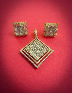 Baguette Diamond Pendant Set - Ziva Art Jewellery