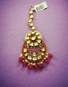 Kundan and Red Meenakari Tikka - Ziva Art Jewellery