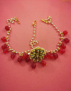 Borla Matha Patti with Red drops - Ziva Art Jewellery